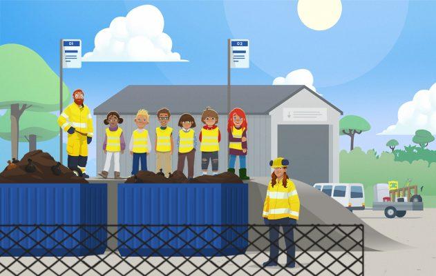 Illustration visar elever på en återvinningscentral